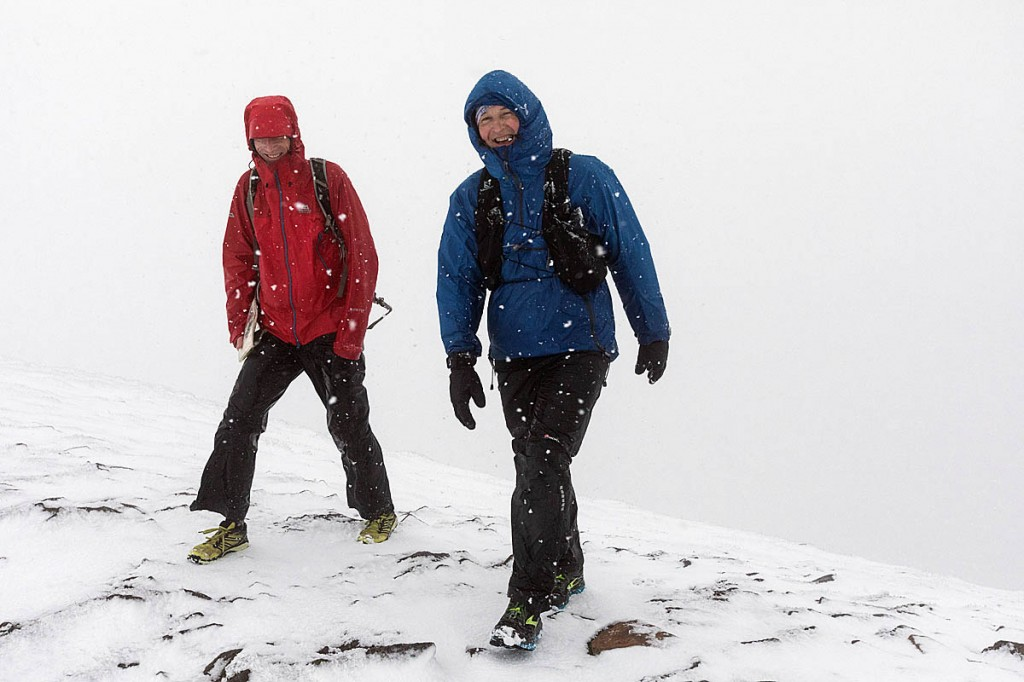 Brian Melia, right, with Roy Ruddle on the summit of Ingleborough in blizzard condtions. Photo: Bob Smith/grough