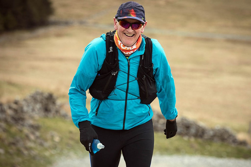 Brian Melia at Kidstones above Cray during his successful continuous run of A Pennine Journey. Photo: Bob Smith/grough