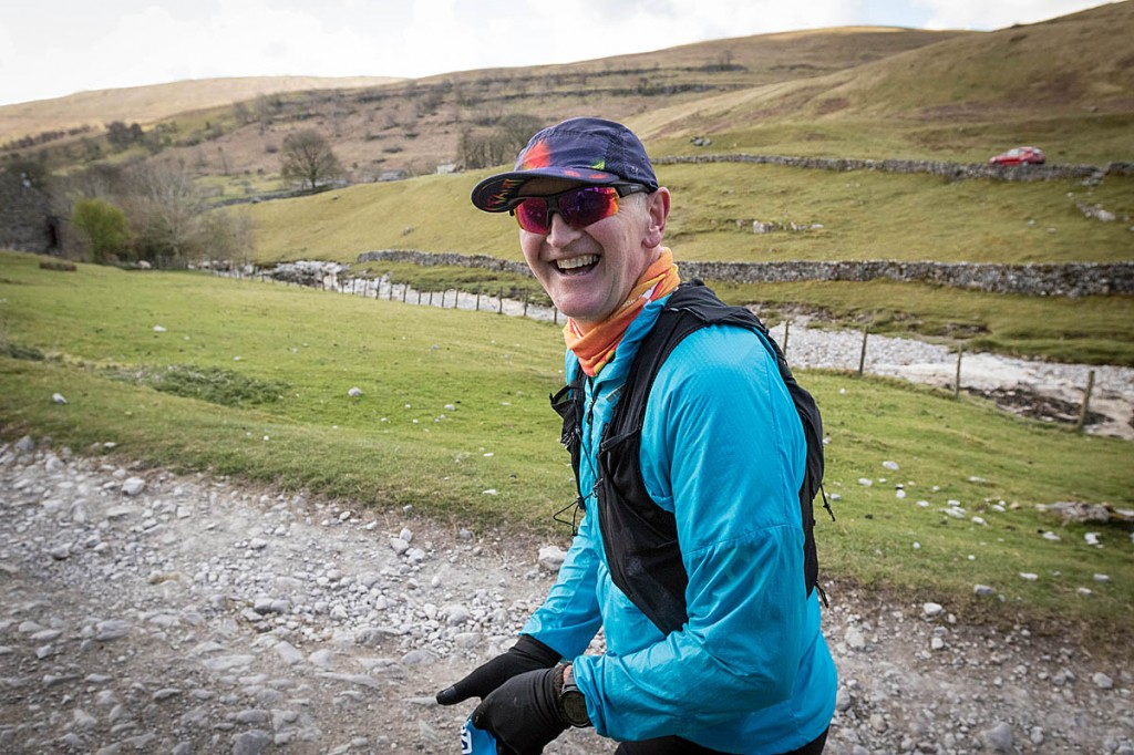 Brian Melia in upper Wharfedale in his attempt at a continuous run of A Pennine Journey. Photo: Bob Smith/grough
