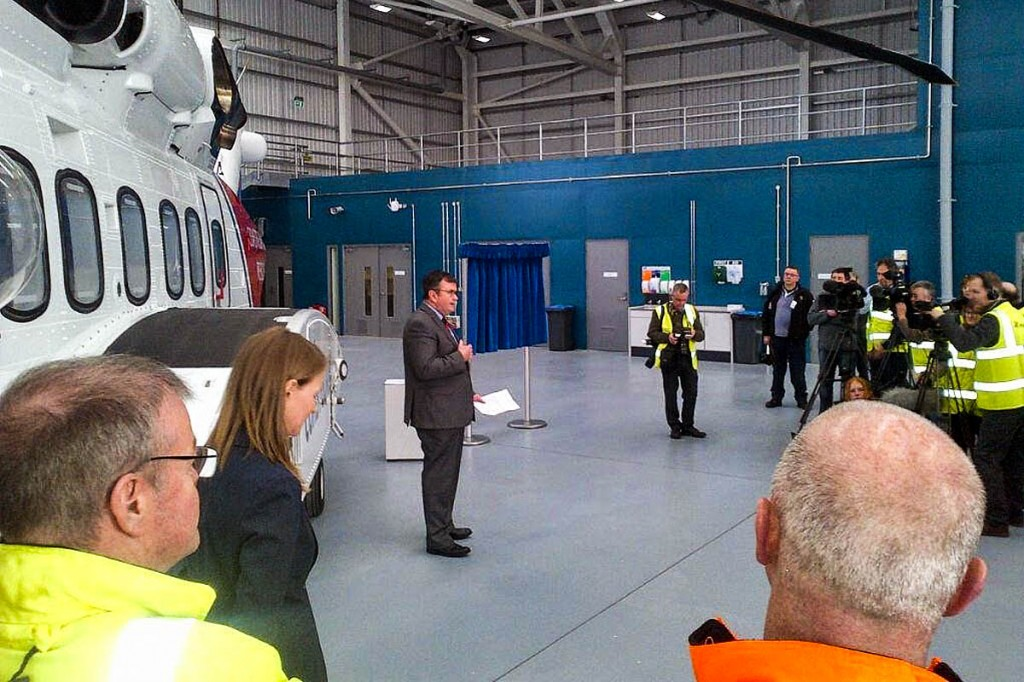 Richard Parkes welcomes guests and the press in a ceremony to launch the Inverness SAR base. Photo: Bristow