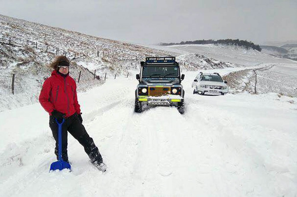 Deep drifts thwarted even the Land Rover's ability to reach the farm. Photo: Buxton MRT