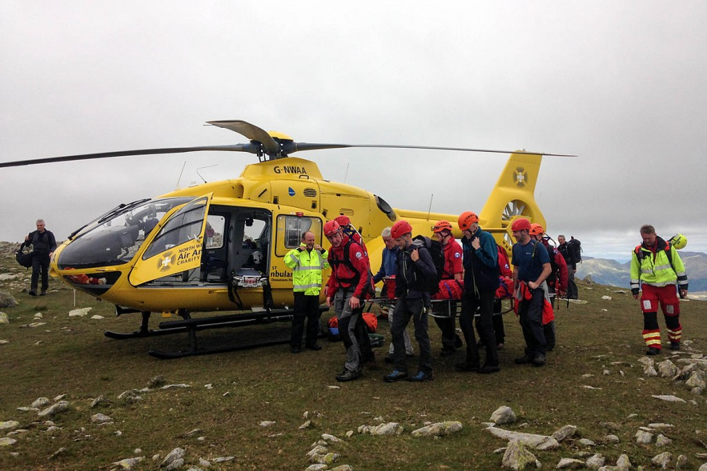 Rescuers and the air ambulance on Swirl How during the Sunday incident. Photo: Coniston MRT