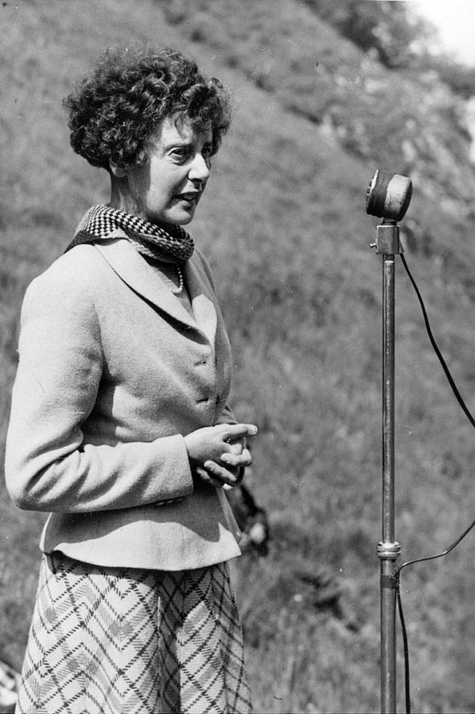 Ethel Haythornthwaite addresses a Ramblers access rally in Winnats Pass in the 1950s