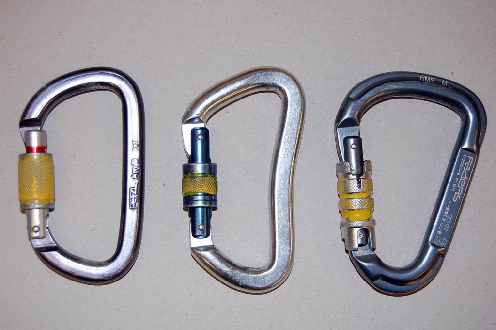 Examples of the carabiners stolen from the cave: from left, the Petzl Am'D, Faders Goliat and Faders HMS