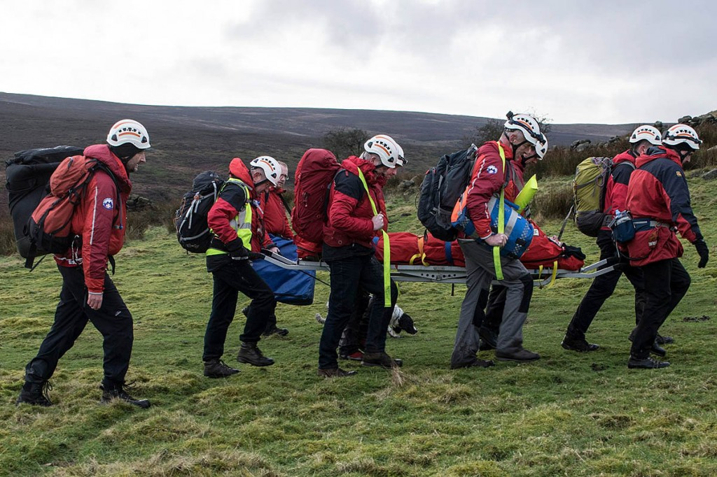Rescuers stretcher the injured man from Brontë Waterfalls. Photo: Calder Valley SRT