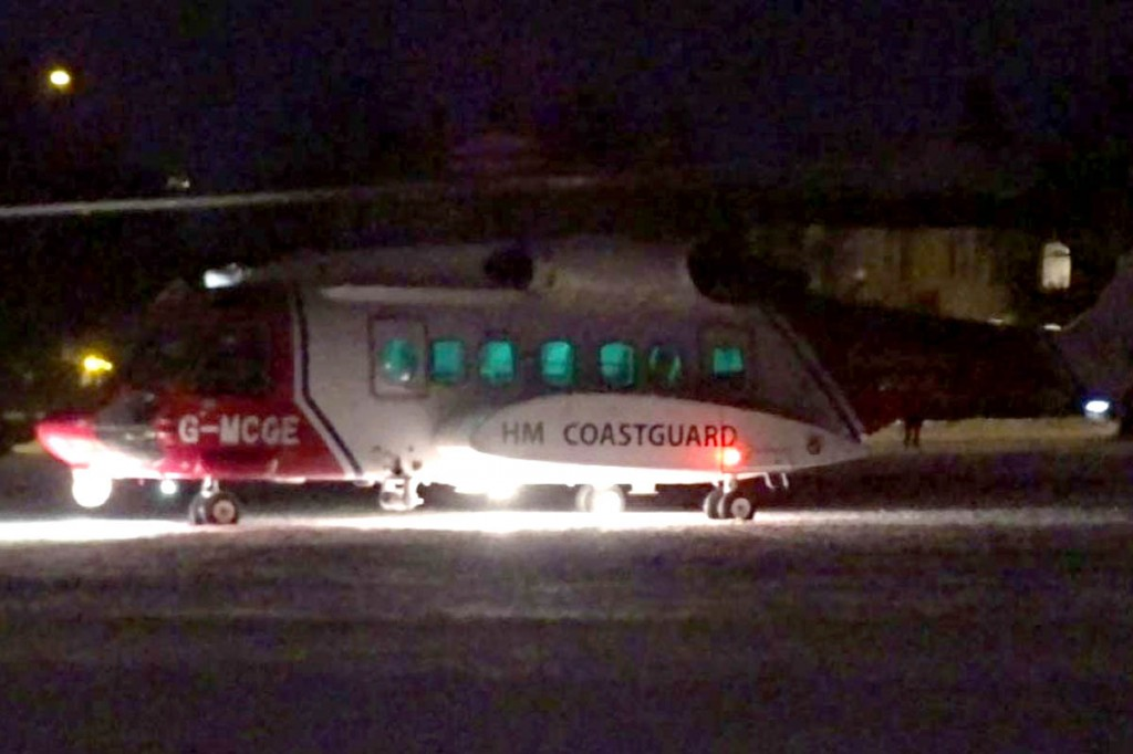 The Coastguard helicopter in Halifax. Photo: Calder Valley SRT