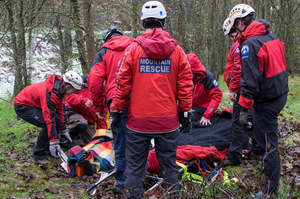 Rescue team members at the site at Hardcastle Crags. Photo: CVSRT