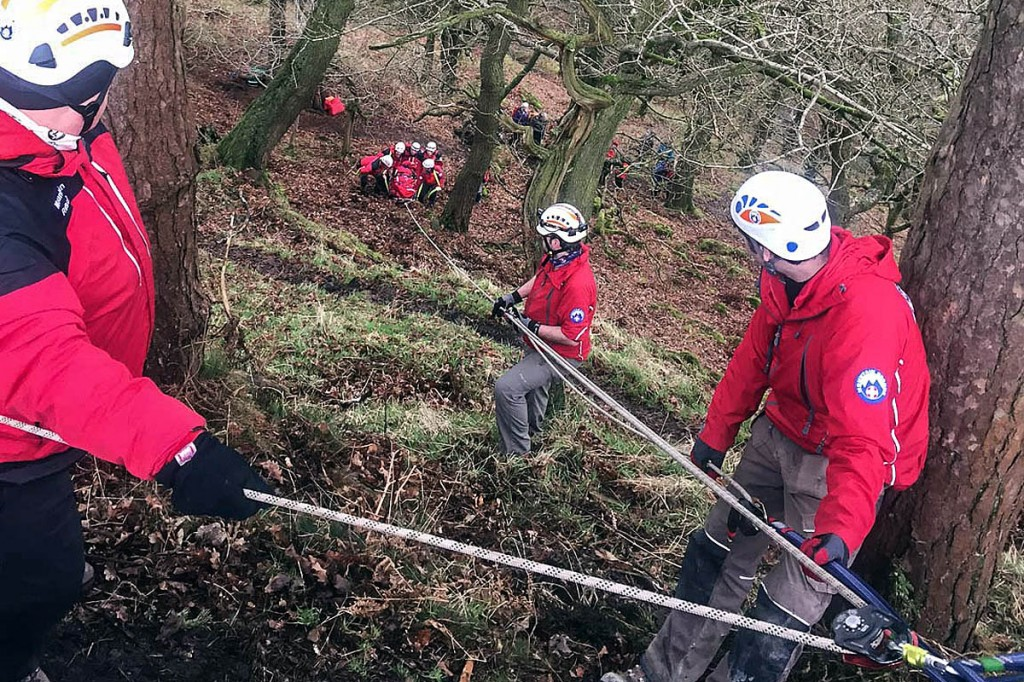 Team members rigged up a rope system to help the evacuation of the man near Walshaw. Photo: Calder Valley SRT