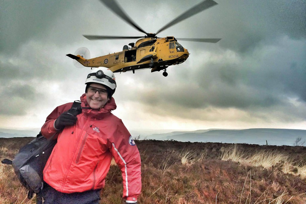Richard Graves seen after being winched down from an RAF Sea King helicopter