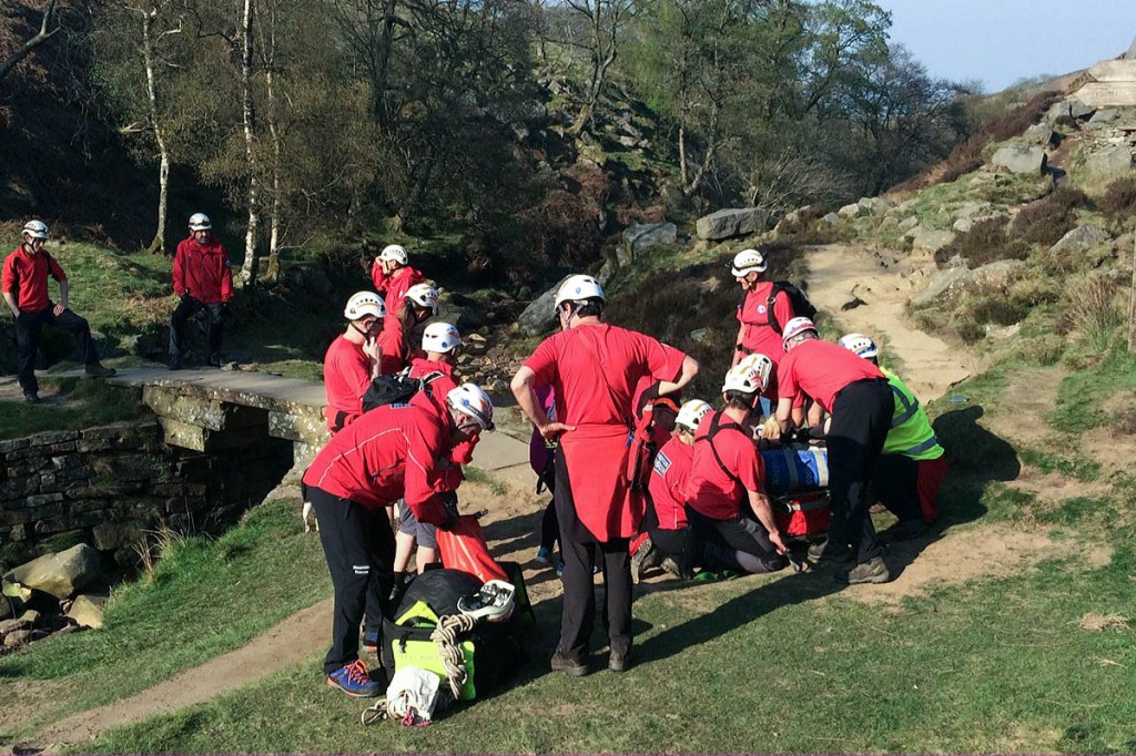 Rescue team members at the site next to Brontë Bridge. Photo: Calder Valley SRT