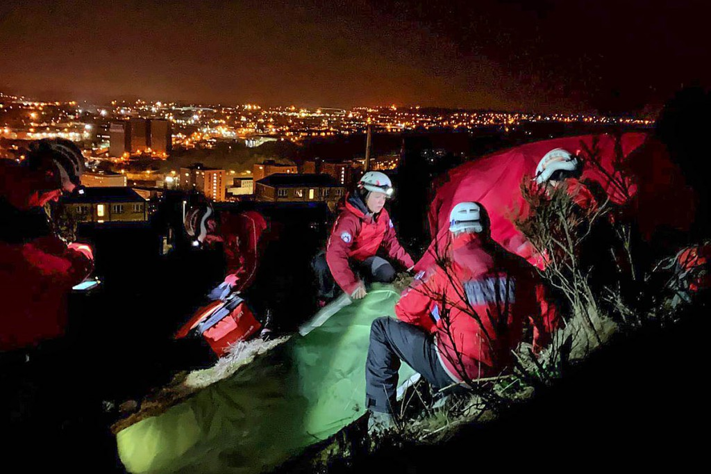 Rescuers at the scene overlooking Halifax. Photo: Calder Valley SRT