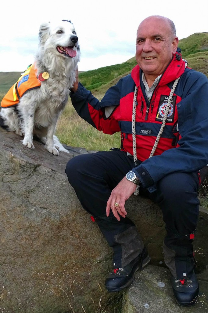 Nell with her handler David Warden. Photo: CVSRT