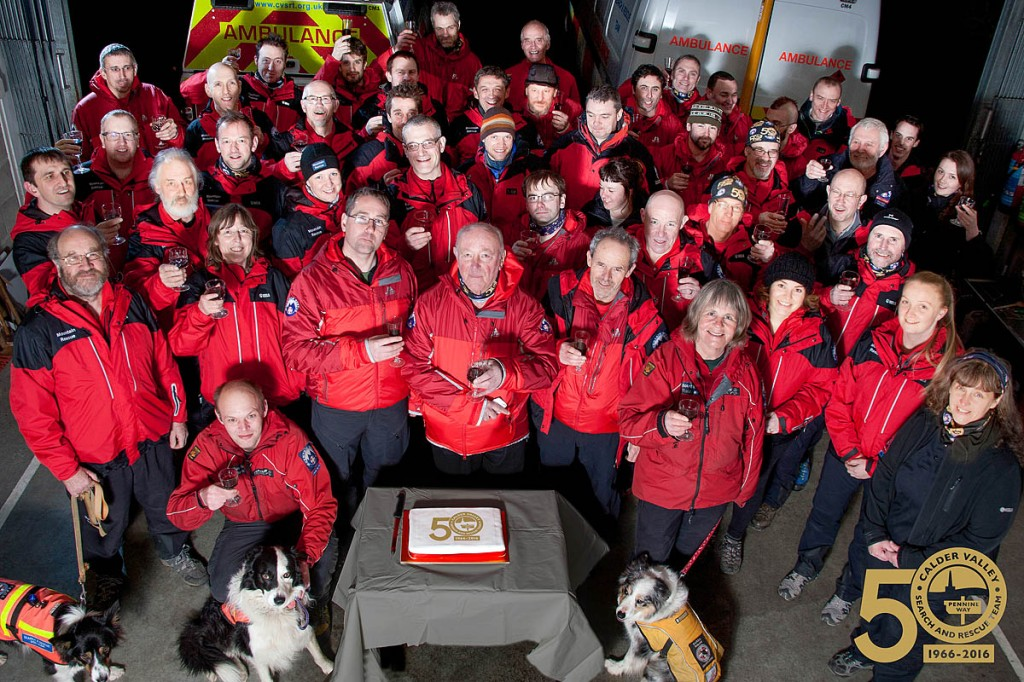 Calder Vallery Search and Rescue Team members get the anniversary celebrations underway. Photo: Tony Hanners