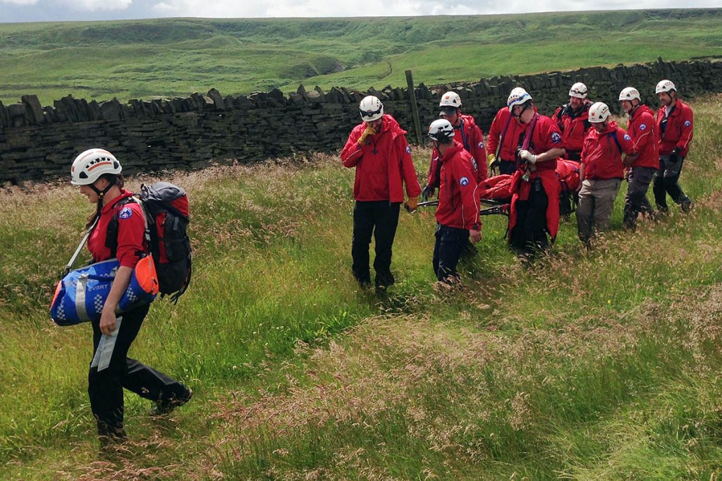 The walker was stretchered off the hill for half a mile. Photo: Calder Valley SRT