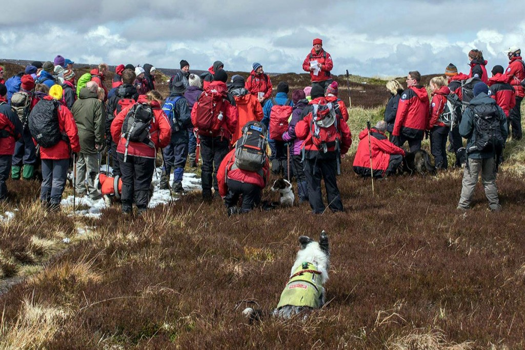 Two- and four-legged walkers on the commemorative event. Photo: Calder Valley SRT