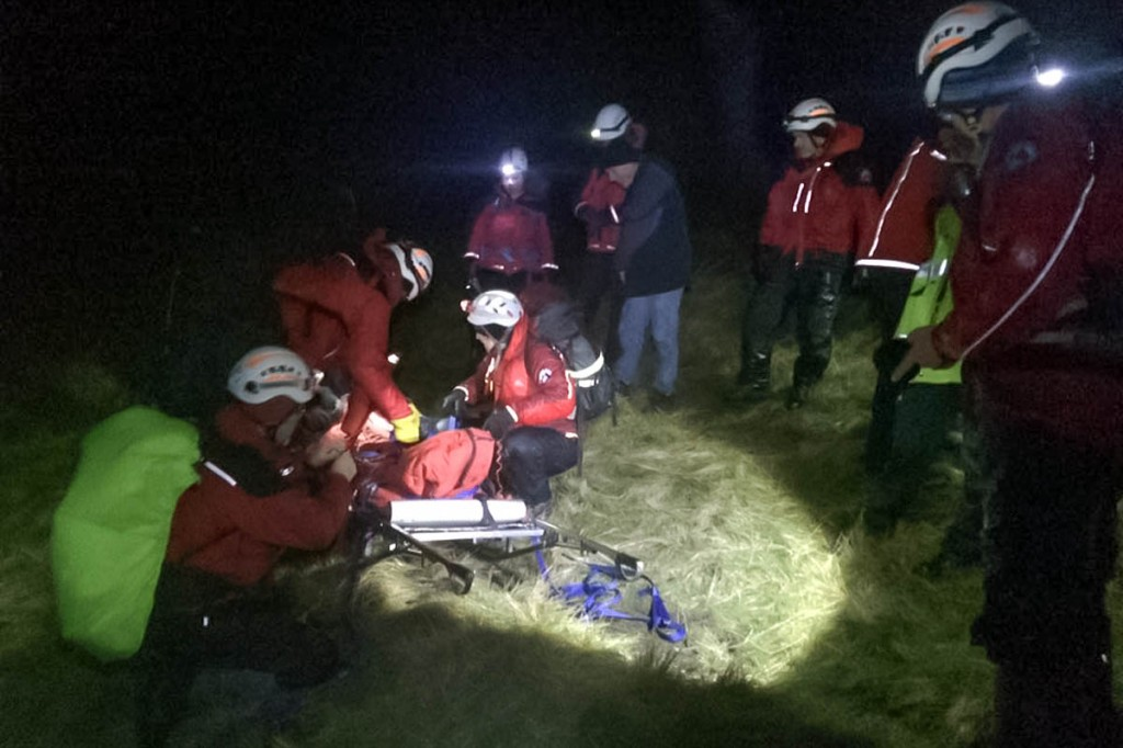 The walker is packaged on to a stretcher. Photo: Calder Valley SRT