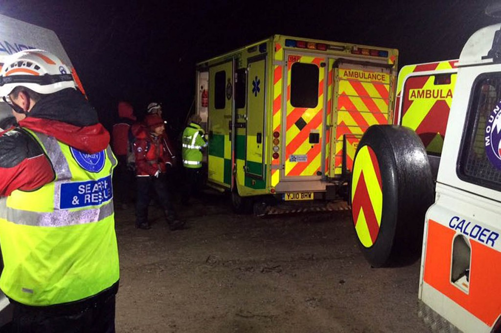 The man was driven a team Land Rover to a waiting ambulance. Photo: Calder Valley SRT
