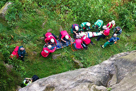 The scene at Otley Chevin after the climber's fall. Photo: CVSRT