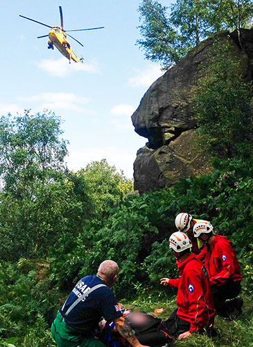 Calder Valley Search and Rescue Team works with emergency services at Otley Chevin after the climber's fall. Photo: CVSRT
