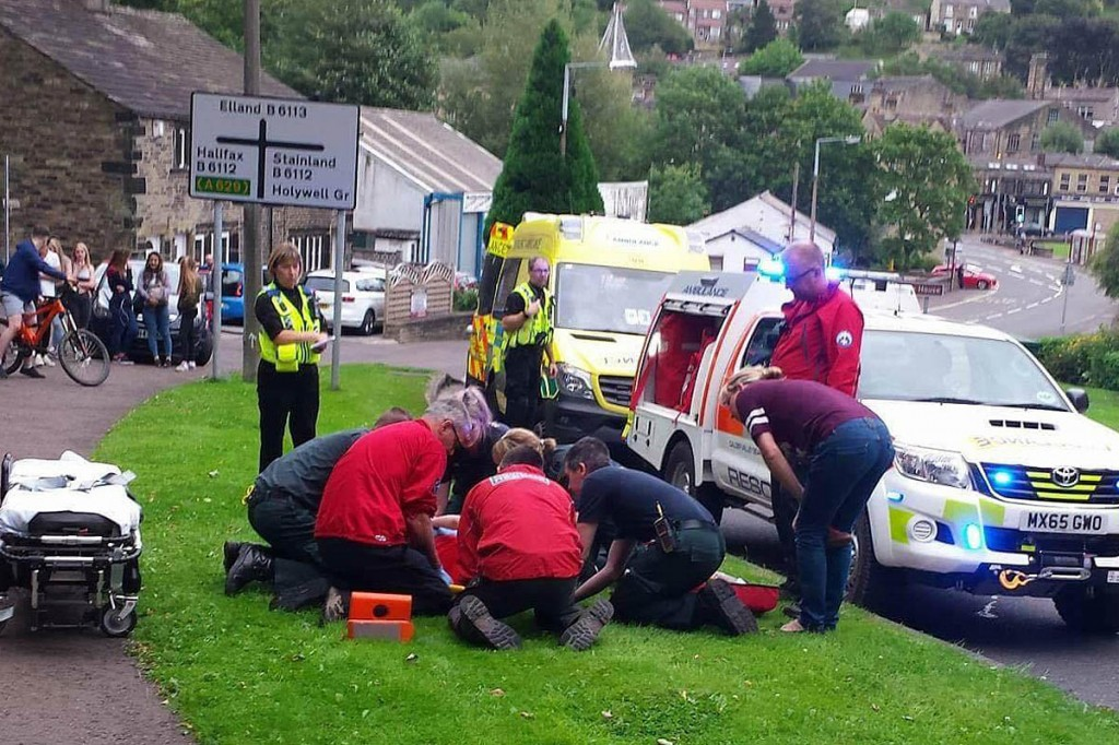 The rescue team also treated an injured cyclist while on their way to the search. Photo: Calder Valley SRT