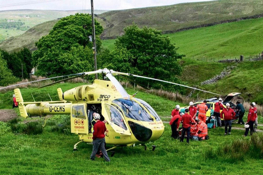 Rescuers at the scene of the mountain biking incidents near Todmorden. Photo: Calder Valley SRT