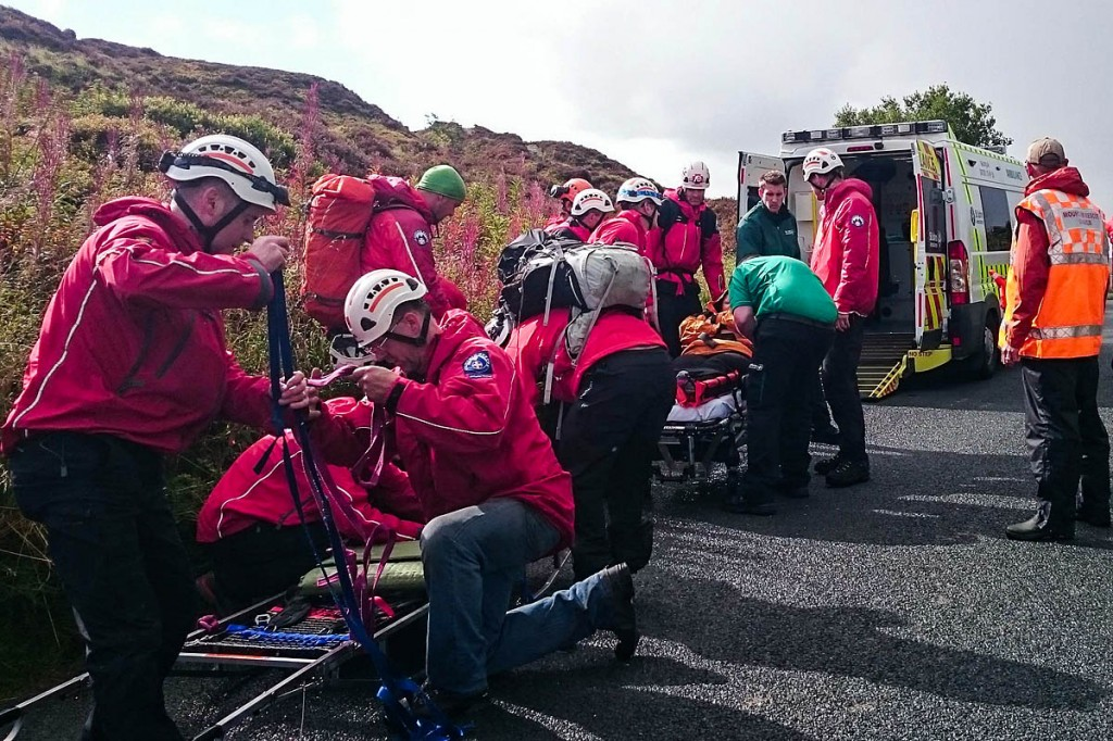 Search and rescue team members and ambulance staff at the site. Photo: Calder Valley SRT