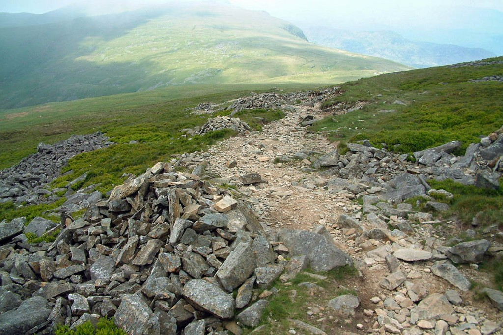 Cairns on the Tŷ Nant Path on Cadair Idris. Photo: Natural Resources Wales