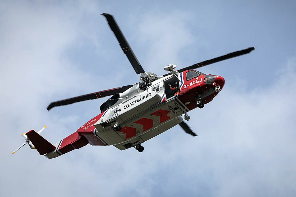 The Coastguard helicopter flew the injured walker to hospital. Photo: Bob Smith/grough