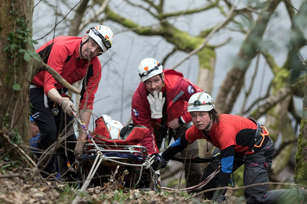 A 'casualty' is hauled up a steep slope during the afternoon training. Photo: Bob Smith/grough