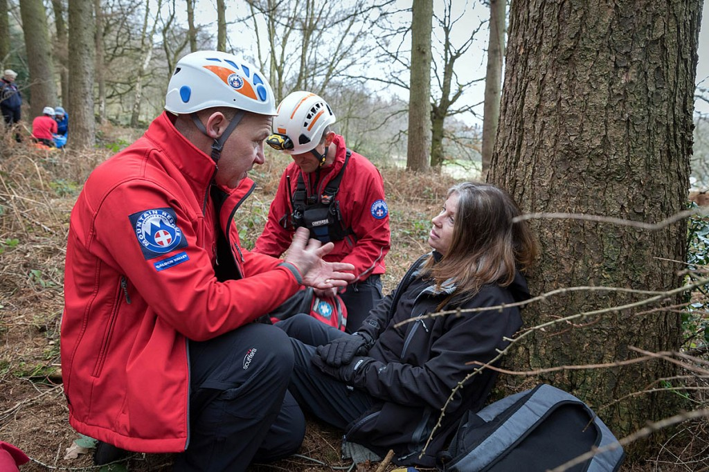 Team members with a 'casualty' during training. Photo: Bob Smith/grough