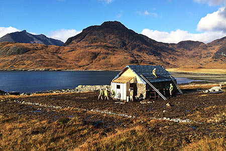Members of 59 Commando Squadron Royal Engineers at work on the new bothy. Photo: Major Iain Lamont
