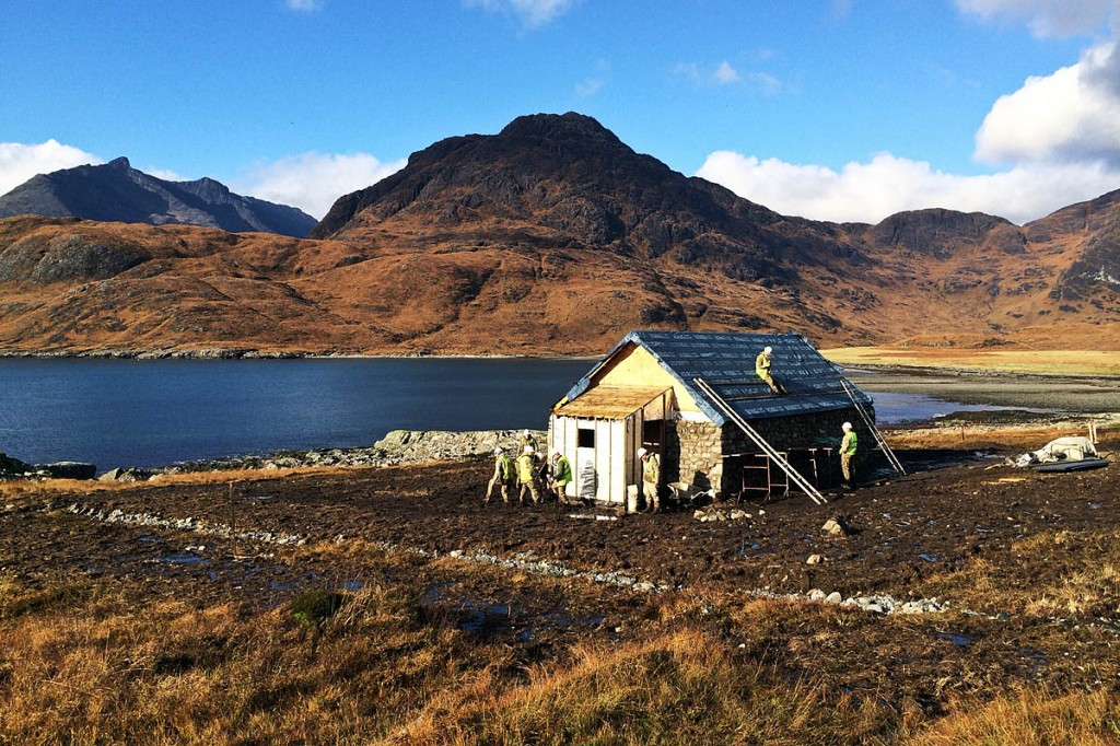 Members of 59 Commando Squadron Royal Engineers at work on the new bothy at Camasunary. Photo: Major Iain Lamont