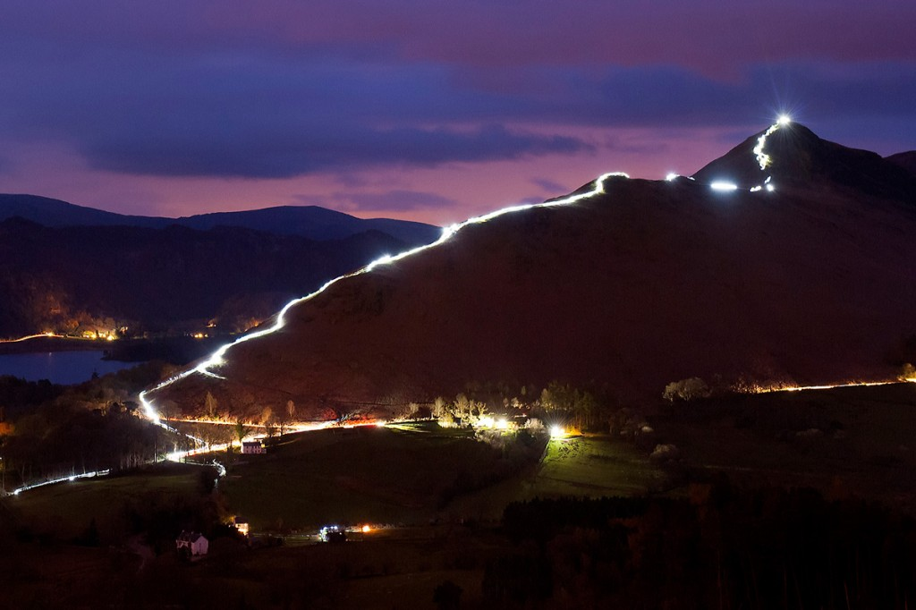 Cat Bells is illuminated during the event. Photo: Nick Landells/Lakeland Photo Walks