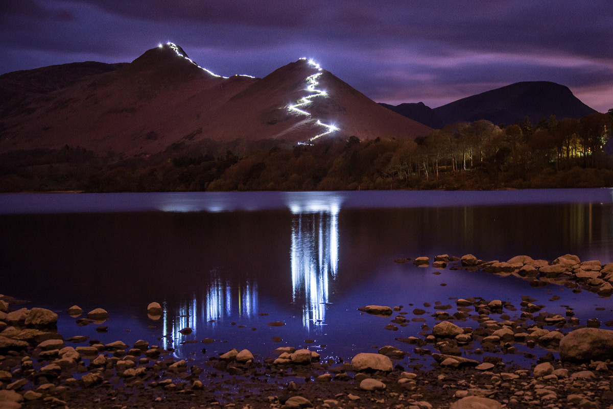 Grough Lakeland Fell Cat Bells Lit Up During Event