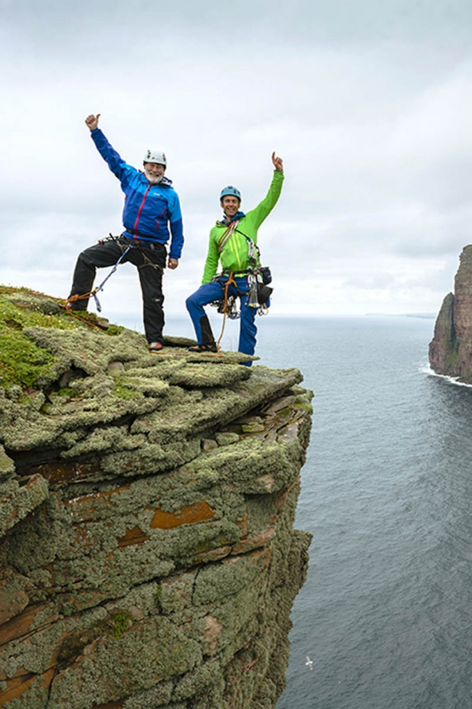Sir Chris with Leo Houlding on top of The Old Man of Hoy