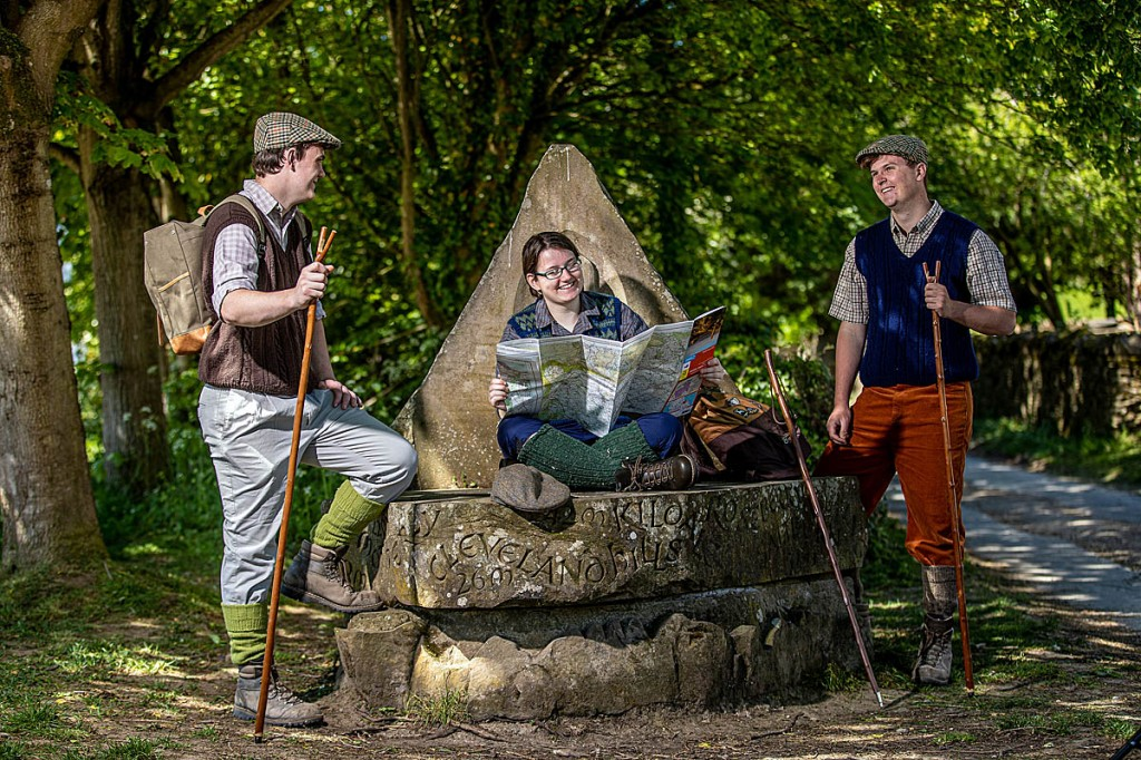 Apprentices don 1960s hiking gear to mark the 50th anniversary of the Cleveland Way: from left, Mathew Craggs, April Wimmer and Archie Lamb. Photo: Charlotte Graham