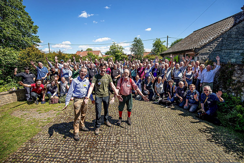 Walkers celebrate the Cleveland Way's 50th: front, from left, James Black chief executive of YHA England and Wales; trail manager Malcolm Hodgson and Colin Speakman who attended the original launch of the Cleveland Way. Photo: Charlotte Graham