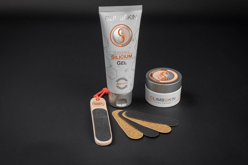Climbskin Hand Cream, Silicium Gel and File. Photo: Bob Smith/grough