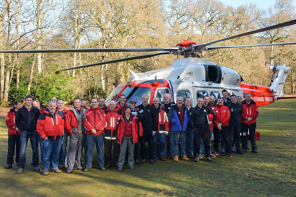 Scottish mountain rescuers with the new AgustaWestland helicopter. Photo: MCA
