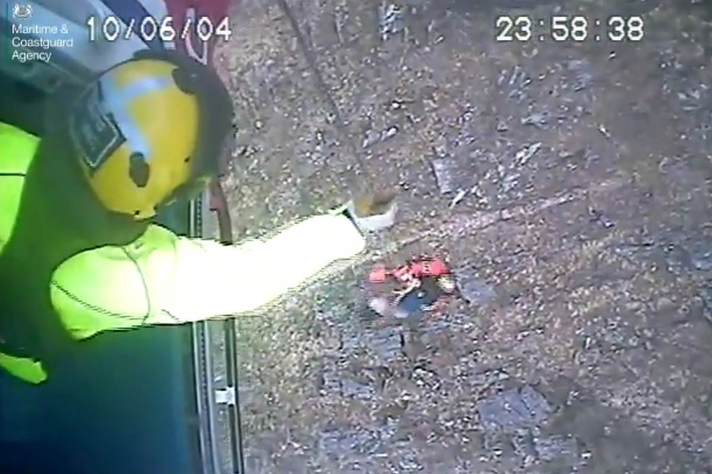 The woman is winched into the Coastguard helicopter. Image: MCA