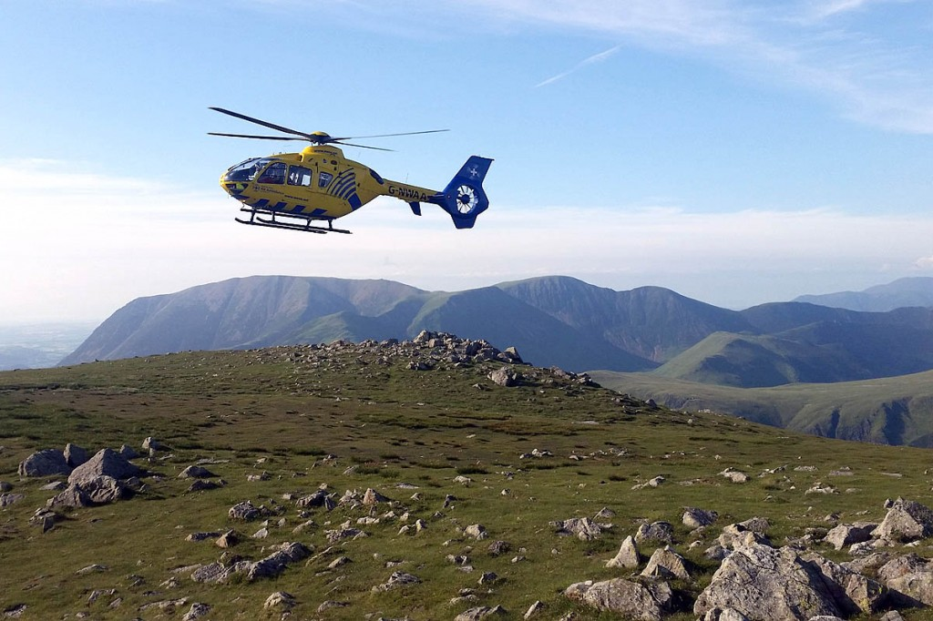 The air ambulance was able to land on High Crag. Photo: Cockermouth MRT