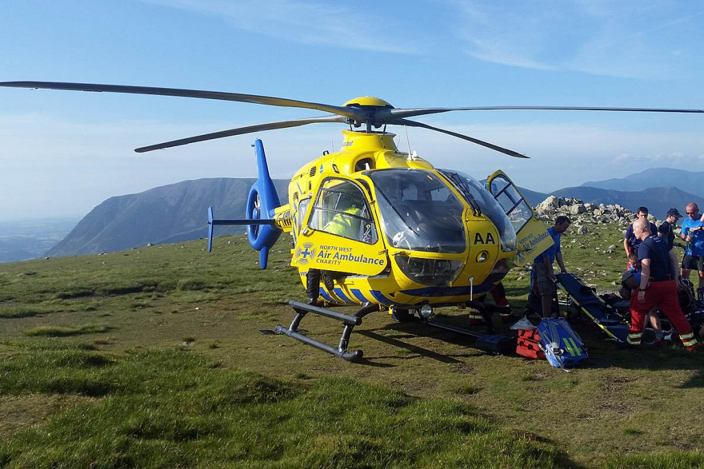 The team stretchered the injured walker back up on to High Crag. Photo: Cockermouth MRT