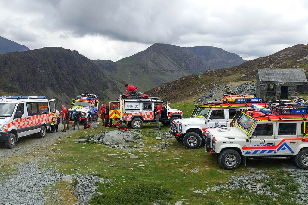 Vehicles from both teams at the scene near Honister. Photo: Cockermouth MRT