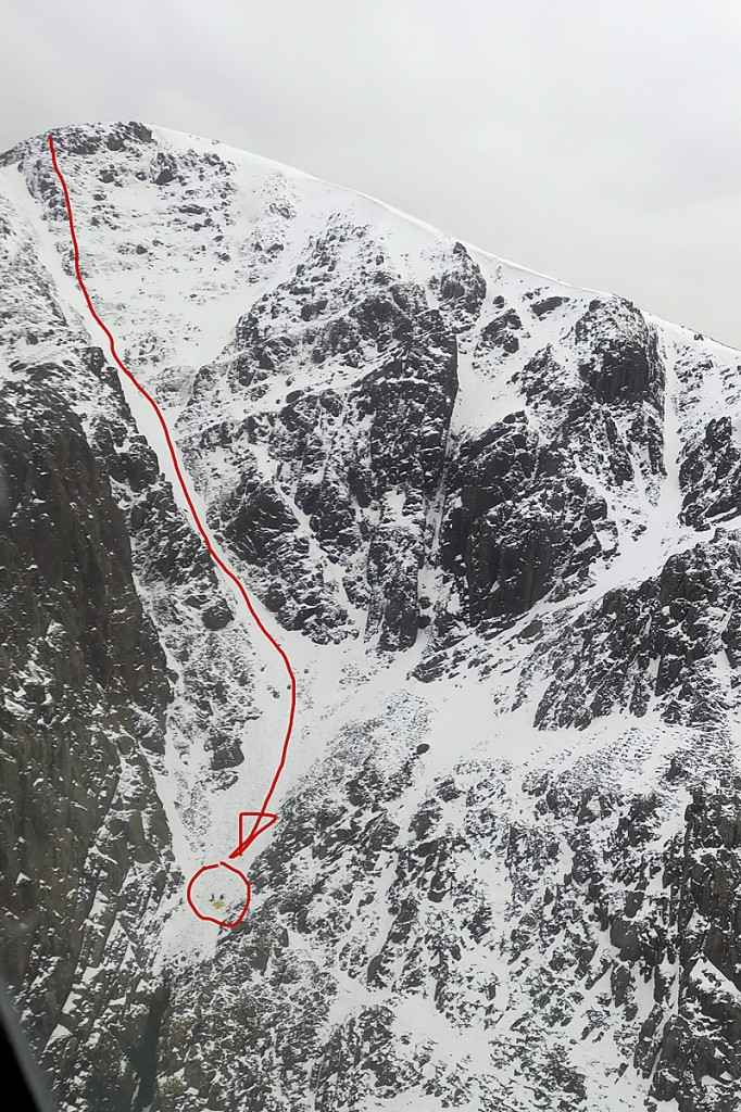 A view of the scene on Pillar showing the fall line of the walker, with the gully bottom left. Photo: Cockermouth MRT