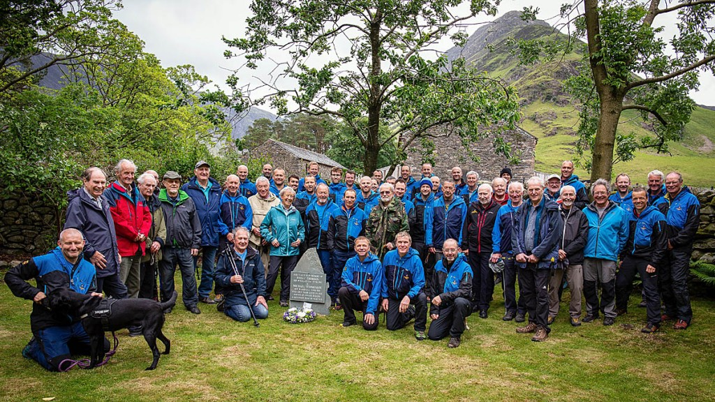 Past and present team members gather at Gatesgarth in the Buttermere valley. Photo: Cockermouth MRT