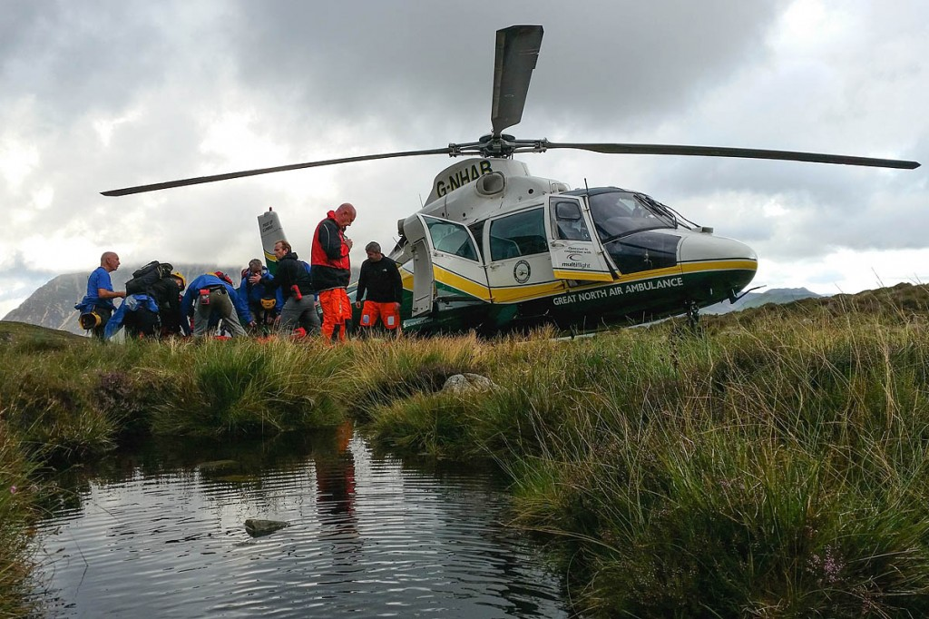 Rescuers and air ambulance crew at the scene. Photo: Cockermouth MRT