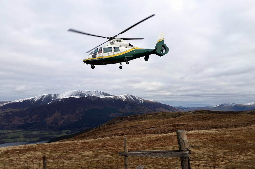 The Great North Air Ambulance at the scene on Broom Fell. Photo: Cockermouth MRT