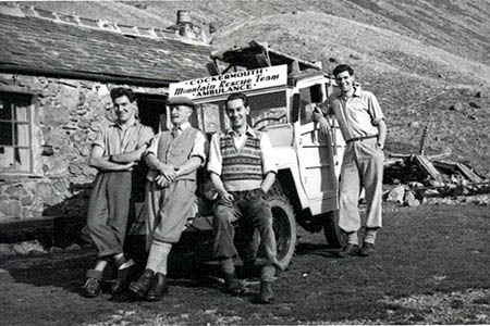Team members and their ambulance in the early years at Black Sail youth hostel, Ennerdale