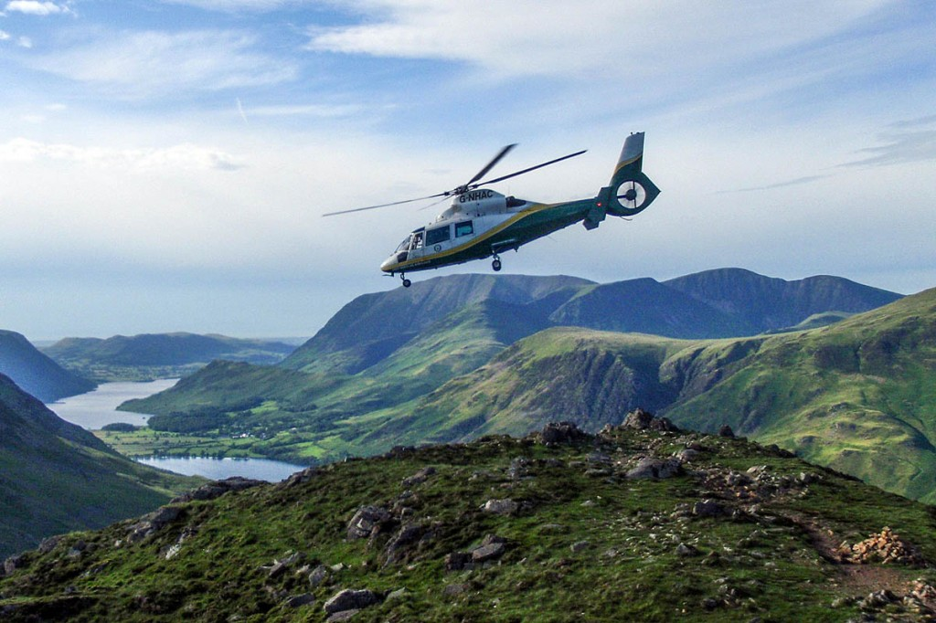 The Great North Air Ambulance flies in to the scene on Hay Stacks. Photo: Cockermouth Mountain Rescue Team