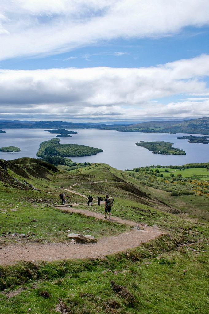 Walkers on a restored path on Conic Hill, overloooking Loch Lomond. Photo: Michael McGurk